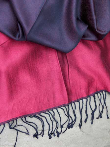 Put some colour in your life with a two-tone silk scarf from our Saraswati range.